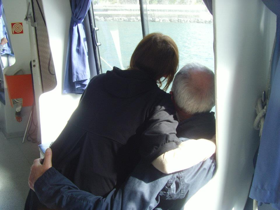mum and dad ferry  hug