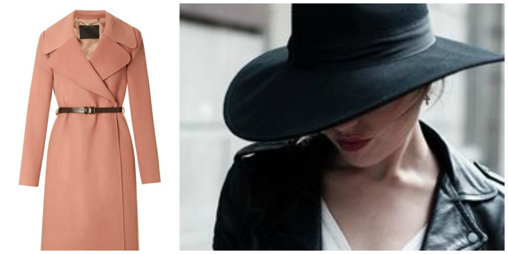 pink coat, black hat