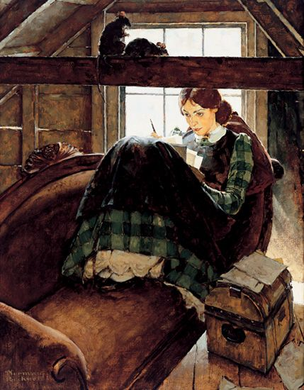 Jo Seated on the Old Sofa by Norman Rockwell, 1937. Oil on canvas.
