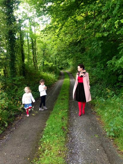 jane with girls in lane in red